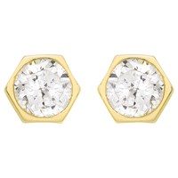 Ibb 9Ct Gold Hexagonal Cubic Zirconia Stud Earrings Gold