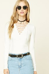 Forever 21 Ribbed Knit Lace Up Top
