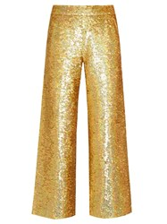Ashish Sequin Embellished Straight Leg Cotton Trousers Gold