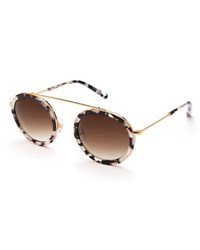 Krewe Conti Gradient Aviator Sunglasses Black White Gold Blue