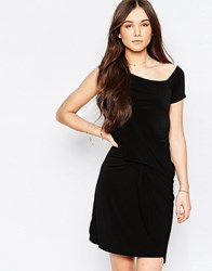 Wal G Dress With Drape Front Black