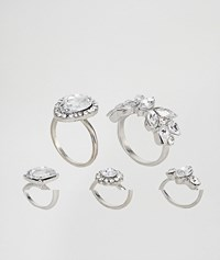 New Look Flower And Teardrop Stacking Ring Pack Silver