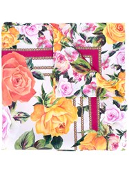 Dolce And Gabbana Rose Pink Print Scarf Women Silk One Size