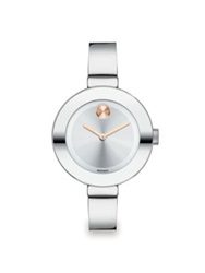 Movado Bold Stainless Steel Bangle Bracelet Watch 34Mm Silver Rose Gold