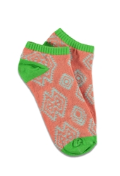 Forever 21 Southwestern Pattern Ankle Socks Coral Neon Green