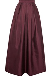 Raoul Pleated Silk Blend Taffeta Maxi Skirt Burgundy