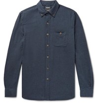Todd Snyder Button Down Collar Cotton And Wool Blend Flannel Shirt Navy