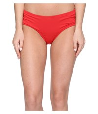 Michael Michael Kors Villa Del Mar Shirred Bikini Bottom Red Blaze Women's Swimwear