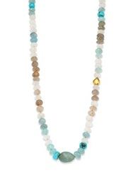 Lena Skadegard Semi Precious Multi Stone And 18K Yellow Gold Beaded Strand Necklace Blue Multi