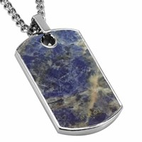 Mikol Real Marble Dog Tag Collectionlaguna Blue