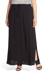 Plus Size Women's Caslon Drawstring Waist Woven Maxi Skirt Black