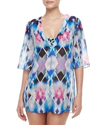 Milly Capella Sheer Printed Coverup Tunic Petite 0 2