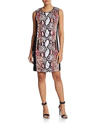 Hale Bob Snakeskin Print Paneled Shift Dress Rust Multi