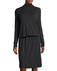 Brunello Cucinelli Wool Long Sleeve Turtleneck Dress Dark Gray