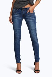 Boohoo Low Rise Panelled Pocket Detail Skinny Jeans Blue
