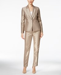 Le Suit Metallic One Button Pantsuit Titanium