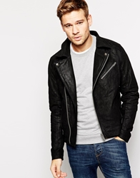 Solid Solid Leather Biker Jacket Black