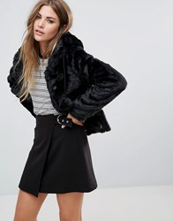 Urban Bliss Hooded Faux Fur Jacket With Pom Poms Navy