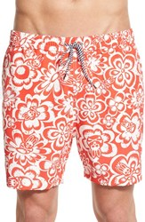 Men's Psycho Bunny Floral Swim Trunks Poppy