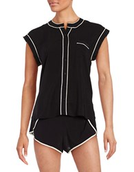 Calvin Klein Contrast Trim Cap Sleeve Top And Shorts Pajama Set Black