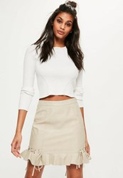 Missguided Cream Faux Leather Frill Mini Skirt