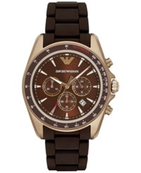 Emporio Armani Men's Chronograph Sigma Dark Brown Silicone Wrapped Stainless Steel Bracelet Watch 44Mm Ar6099 No Color