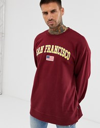 Only And Sons San Francisco Crew Neck Sweat In Burgundy Red