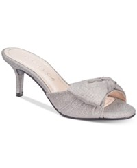 Caparros Lydia Bow Slide Evening Sandals Women's Shoes Silver Fabric