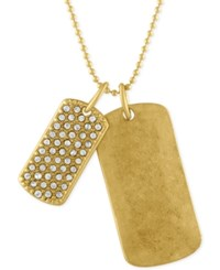 Rachel Roy Gold Tone Double Dog Tag Pendant Necklace