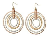 Robert Lee Morris Hammered Orbital Drop Earrings Tri Tone Earring Gold