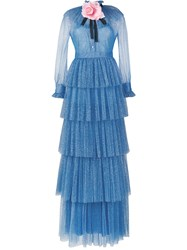 Gucci Glitter Tulle Gown Blue Black Pink Rose Light Blue