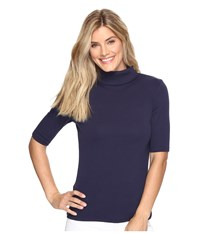 Lilla P Elbow Sleeve Turtleneck Navy Women's Clothing
