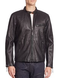 Polo Ralph Lauren Lambskin Leather Cafe Racer Jacket Black