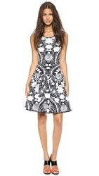 Marchesa Voyage Floral Knit Tank Dress Black White