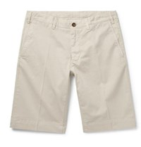 Canali Slim Fit Stretch Cotton Twill Shorts Beige