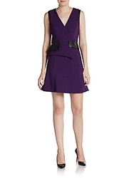 Valentina Shah Michela Faux Leather Peplum Dress Purple