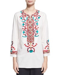 Figue Lisbette Embroidered Tunic Top White