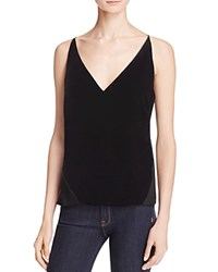 J Brand Lucy Sheer Back Velvet Tank Black