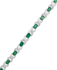 Macy's Sapphire 8 Ct. T.W. And Diamond Accent Xo Bracelet In Sterling Silver Green