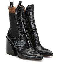 Chloe Wave Embossed Leather Ankle Boots Black