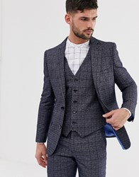 Penguin Orginal Slim Fit Dark Navy Check Suit Jacket