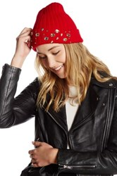 Natasha Accessories Large Faux Gem Cuff Beanie Red