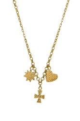 Luv Aj The Hammered Charm Necklace Metallic Gold