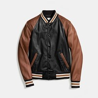 Coach Leather Varsity Jacket Black Tan