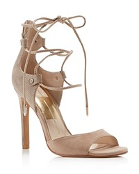 Dolce Vita Hazeley Peep Toe Lace Up High Heel Sandals Natural