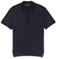 Rag And Bone Dustin Two Tone Cotton Blend Polo Shirt Blue