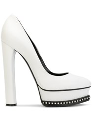 Casadei Crystal Trimmed Platform Pumps Women Calf Leather Leather Nappa Leather 37 White