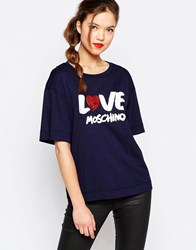 Love Moschino Sequin Heart T Shirt In Navy Navy