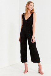 Urban Outfitters Uo Plisse Plunging Shapeless Jumpsuit Black