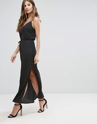 Goldie Long Island Square Dot Printed Maxi Slip Dress With Side Splits And Waist Tie Black